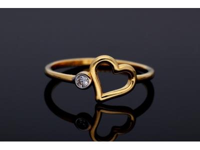 Inel din aur 14K model inimioara
