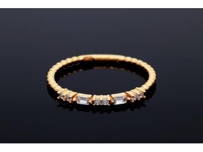 Inel din aur galben 14K pietricele zirconia