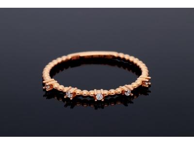 Inel din aur roz 14K pietricele zirconia