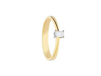 Inel logodna  aur 18k cu diamant