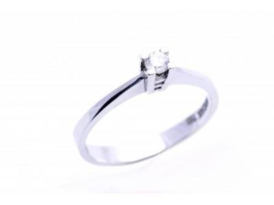 Inel logodna aur alb 18K cu diamante