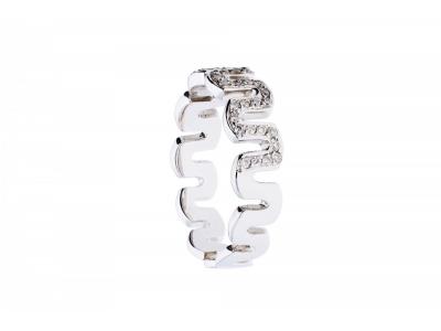 Inel tip verigheta aur alb 18k cu diamant