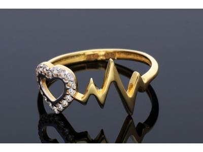 Inele aur 14K cu zirconii inima puls