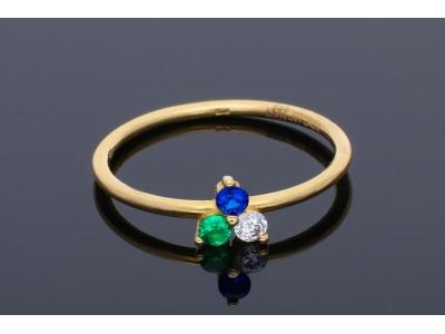 Inele aur 14K galben  cu zirconii colorate