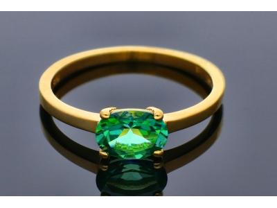 Inele din aur 14K galben zirconia verde
