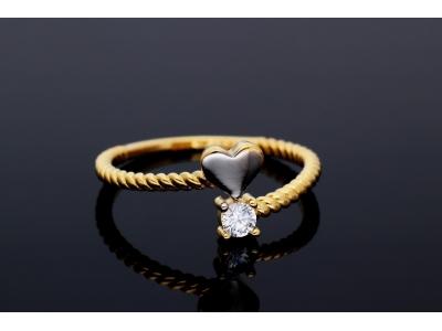 Inele din aur 14K inimioara zirconia