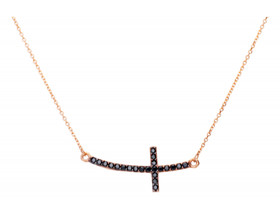 Lant aur roz pandantiv cruciulita zirconii negre