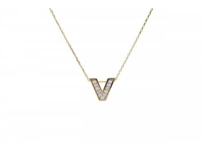 Lant cu medalion litera V cadouri bijuterii aur