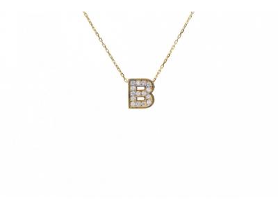 Lant cu pandant aur 14k initiala B