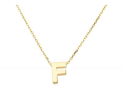 Lant cu pandant aur 14k litera F