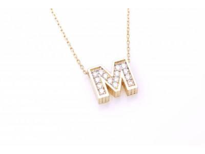 Lant cu pandant aur 14k litera M