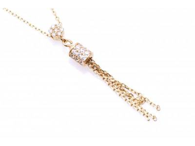 Lant cu pandant bijuterii aur 14 k cu zirconii