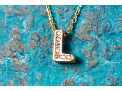 Lant cu pandant bijuterii aur 14K initiala L zirconia