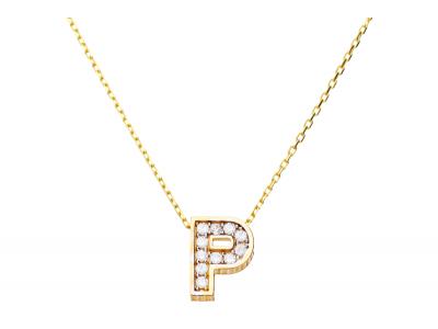 Lant cu pandant bijuterii aur 14K initiala P zirconia