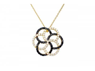 Lant cu pandant bijuterii aur cu zirconii negre
