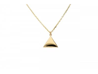 Lant cu pandant triunghi gravabil aur 14k bijuterii