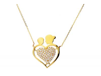 Lant cu pandantiv aur 14K bijuterii dama mama si copilul inimioara