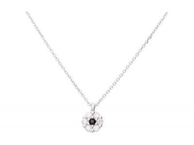 Lant cu pandantiv zirconii bijuterii aur alb 14k