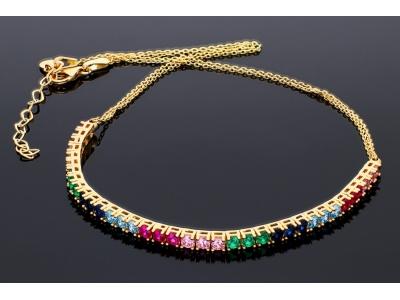 Lant tip choker cu zirconii colorate bijuterii aur 14k