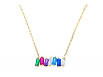 Lantisoare cu pandantiv aur 14K galben zirconii colorate