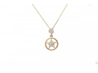 Lantisor aur 14k medalion steluta