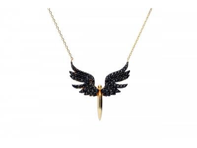 Lantisor aur cu pandant aripi zirconii negre