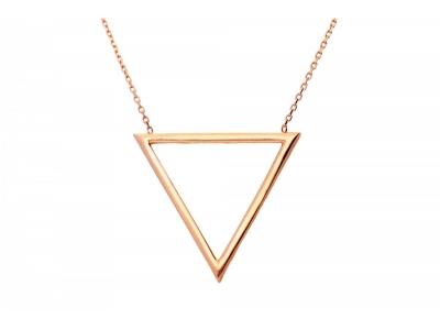 Lantisor aur roz cu pandantiv geometric