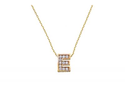 Lantisor cu initiala din aur 14K galben E