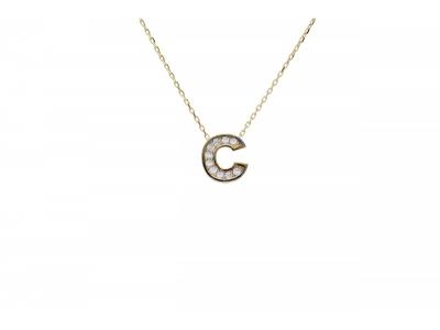 Lantisor cu pandantiv aur litera C