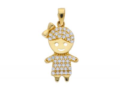 Medalioane aur 14K galben fetita pietricele