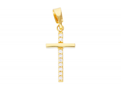 Medalion cruciulita aur 14k cu zirconii