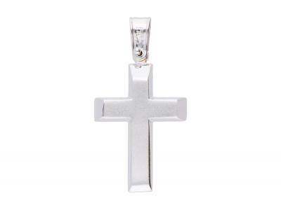 Medalion cruciulita aur alb 14k