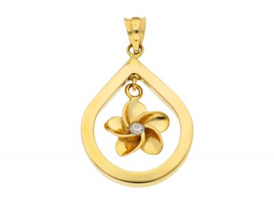 Medalion din aur 14K galben floricica