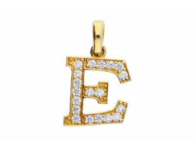 Pandant aur 14K initiala E