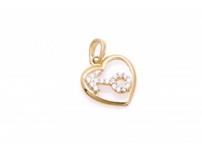 Pandant bijuterii aur 14K inimioara