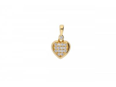 Pandantiv aur 14 inimioara cristale zirconia