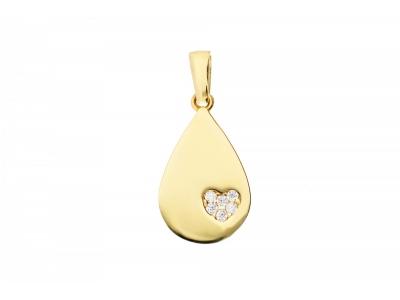 Pandantiv aur 14K bijuterii dama placuta cu inimioara