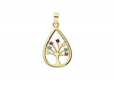 Pandantiv aur 14K pomul vietii zirconia colorate