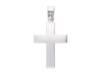 Pandantiv cruce bijuterii aur alb
