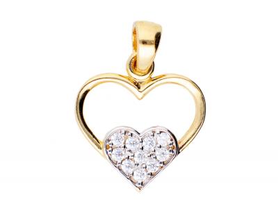 Pandantiv din aur 14K inimioara zirconia