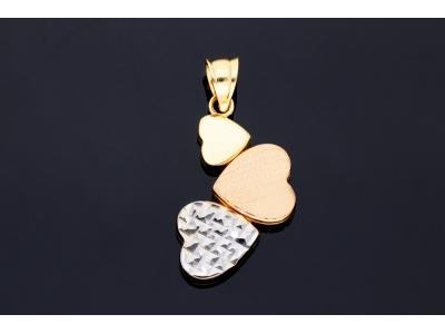 Pandantiv inimioare bijuterii aur 14k