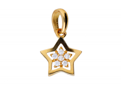 Pandantiv steluta zirconii bijuterii aur 14k