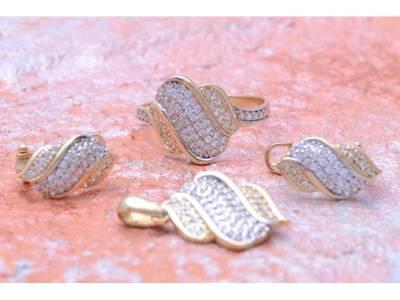 Set aur 14 k bijuterii cu zirconii