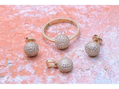 Set aur bijuterii 14 k inel,cercei si pandant cu zircon