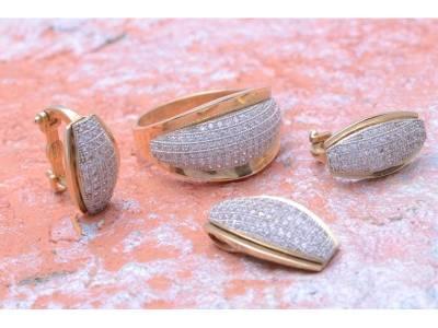 Set inel cercei pandant bijuterii aur 14K